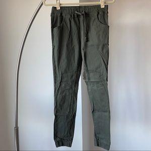 Olive green drawstring jogger pants